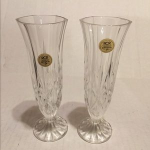 Royal Crystal Rock 2 Aurea Bud Vases Made in Italy